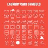 Sistema de símbolos del cuidado del lavadero Fotos de archivo libres de regalías