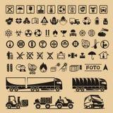 Sistema de símbolos del embalaje Fotos de archivo libres de regalías