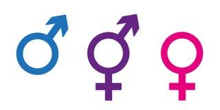 Sistema de símbolos del género incluyendo icono neutral en diversos colores libre illustration