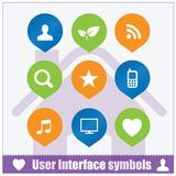 Sistema de símbolos del interfaz del usuario de la web Foto de archivo