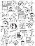 Sistema de símbolos del negocio del garabato Fotografía de archivo