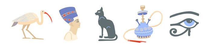Sistema de símbolos egipcios - Ibis, nefertiti, bastet, cachimba y ojo de los iconos del ra libre illustration