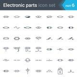 Sistema de símbolos eléctrico y electrónico del esquema circular de fusibles y de símbolos eléctricos de la protección Fotos de archivo