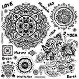 Sistema de símbolos indios ornamentales stock de ilustración