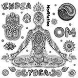 Sistema de símbolos indios ornamentales Imagen de archivo libre de regalías