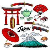 Sistema de símbolos japoneses ilustración del vector