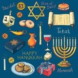 Sistema de símbolos judío tradicional del día de fiesta de Jánuca Fotografía de archivo