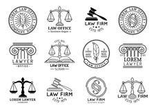 Sistema de símbolos de la asesoría jurídica con las escalas de la justicia, de los ejemplos del mazo etc El abogado del vector, a Imagen de archivo libre de regalías