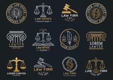 Sistema de símbolos de la asesoría jurídica con las escalas de la justicia, de los ejemplos del mazo etc El abogado del vector, a Fotografía de archivo libre de regalías