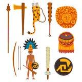 Sistema de símbolos de la civilización del maya, ejemplo tribal americano antiguo del vector de los elementos de la cultura en un ilustración del vector