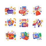 Sistema de símbolos de la venta de las compras, compras de Internet, ejemplo colorido del vector del concepto del comercio electr libre illustration