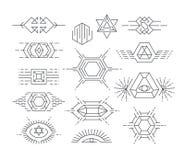 Sistema de símbolos lineares del vector Imagen de archivo libre de regalías