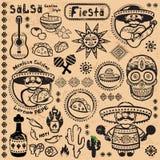 Sistema de símbolos mexicanos del vector Fotografía de archivo libre de regalías