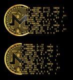 Sistema de símbolos de oro del monero crypto de la moneda Foto de archivo