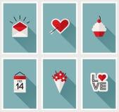 Sistema de símbolos románticos del día de tarjetas del día de San Valentín. Ejemplo del vector Imagen de archivo libre de regalías