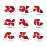 Sistema de símbolos simple geométrico 3d, iconos abstractos del extracto del vector Foto de archivo libre de regalías