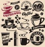 Sistema de símbolos y de iconos del café Imagen de archivo libre de regalías