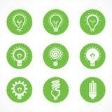 Sistema de símbolos y de iconos eléctricos del bulbo del eco Imagen de archivo libre de regalías