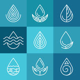 Sistema de símbolos y de muestras del agua stock de ilustración