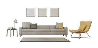 Sistema de sala de estar aislado en el fondo blanco Fotografía de archivo libre de regalías
