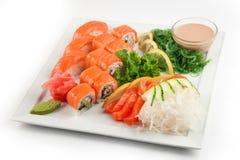 Sistema de Salmon Sushi Fotografía de archivo libre de regalías