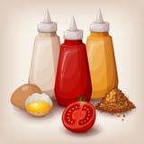 Sistema de salsas deliciosas de los alimentos de preparación rápida Fotos de archivo