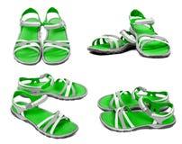 Sistema de sandalias verdes del verano Imagen de archivo
