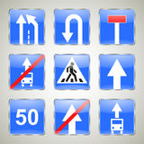 Sistema de señales de tráfico azules Fotografía de archivo
