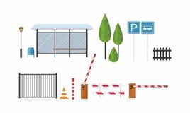 Sistema de señales de tráfico en el fondo blanco objetos urbanos Banco de la ciudad Parada de omnibus Fotografía de archivo