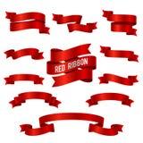 Sistema de seda del vector de las banderas de la cinta del rojo 3d aislado Ilustración del Vector