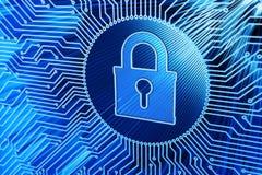 Sistema de segurança do hardware, guarda-fogo de rede, proteção do acesso de dados do computador e conceito eletrônico da tecnolo Fotografia de Stock