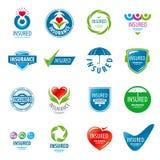 Sistema de seguro de los logotipos del vector Fotos de archivo libres de regalías
