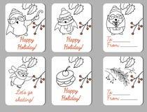 Sistema de seis etiquetas del día de fiesta con los pingüinos funy ilustración del vector