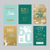 Sistema de seis etiquetas engomadas de los sellos del promo de la Navidad Fotografía de archivo
