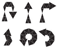 Sistema de seis flechas negras de polígonos Fotografía de archivo