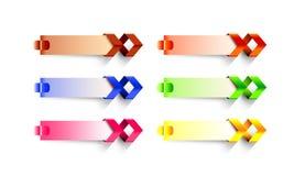 Sistema de seis infographic coloridos en blanco stock de ilustración