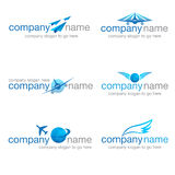 Sistema de seis logotipos del transporte y del viaje Fotos de archivo libres de regalías