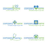 Sistema de seis logotipos médicos Foto de archivo libre de regalías