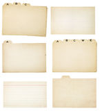 Sistema de seis tarjetas de índice tabuladas vintage Fotografía de archivo
