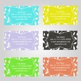 Sistema de seis tarjetas de visita horizontales en diversos colores Modelo del vintage con las hojas Cumplido con los tamaños est ilustración del vector