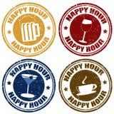 Sistema de sellos de la hora feliz Fotografía de archivo