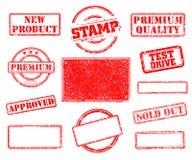 Sistema de sellos de goma ilustración del vector