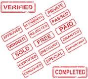 Sistema de 17 sellos rojos libre illustration