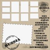 sistema de sellos y de impresión con el país stock de ilustración