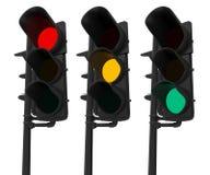 Sistema de semáforos aislados en blanco Imagen de archivo
