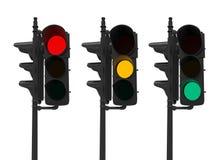 Sistema de semáforos aislados en blanco Imagenes de archivo