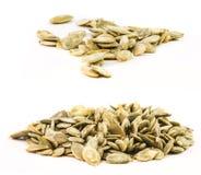 Sistema de semillas de calabaza peladas aisladas Imágenes de archivo libres de regalías