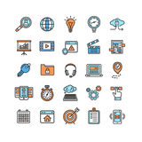 Sistema de Seo Color Thin Line Icon del Search Engine Vector Imagen de archivo libre de regalías