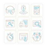 Sistema de servicio del vector o iconos y conceptos de la ayuda en la mono línea estilo fina Foto de archivo