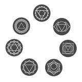 Sistema de siete iconos de los chakras Símbolos de los centros de energía Fotografía de archivo libre de regalías